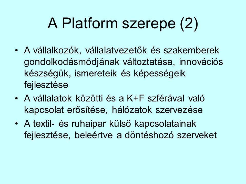 A Platform szerepe (2) •A vállalkozók, vállalatvezetők és szakemberek gondolkodásmódjának változtatása, innovációs készségük, ismereteik és képességeik fejlesztése •A vállalatok közötti és a K+F szférával való kapcsolat erősítése, hálózatok szervezése •A textil- és ruhaipar külső kapcsolatainak fejlesztése, beleértve a döntéshozó szerveket