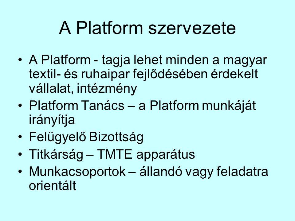 A Platform szervezete •A Platform - tagja lehet minden a magyar textil- és ruhaipar fejlődésében érdekelt vállalat, intézmény •Platform Tanács – a Platform munkáját irányítja •Felügyelő Bizottság •Titkárság – TMTE apparátus •Munkacsoportok – állandó vagy feladatra orientált