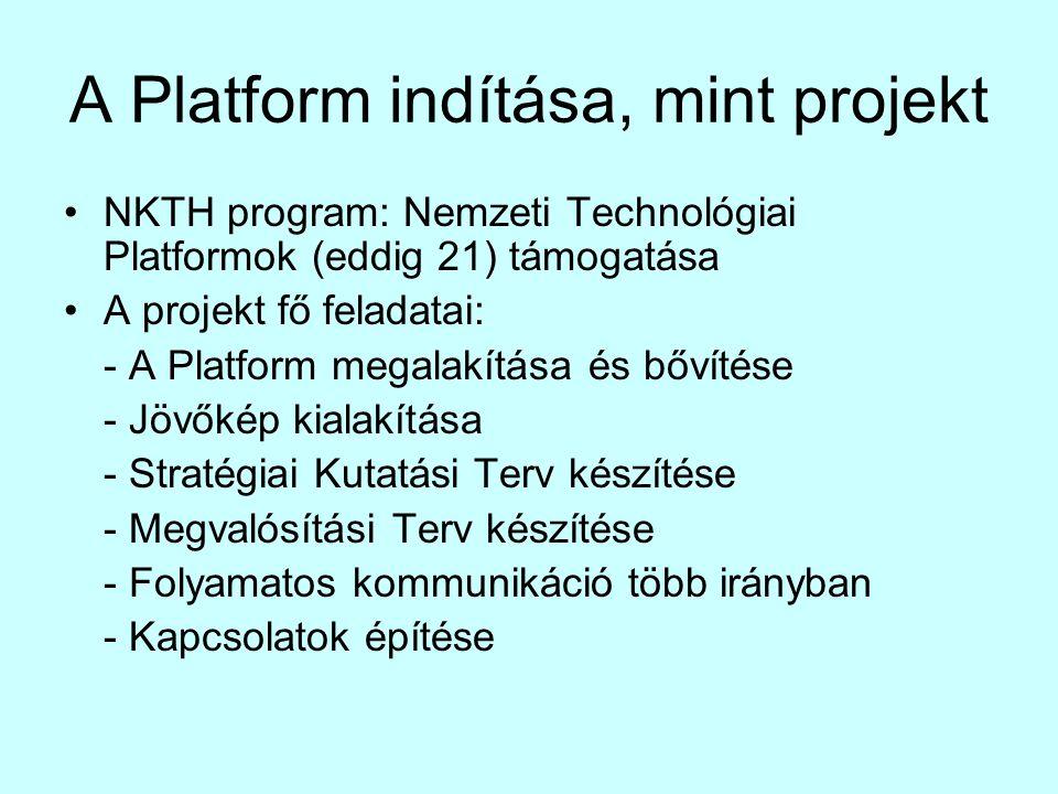 A Platform indítása, mint projekt •NKTH program: Nemzeti Technológiai Platformok (eddig 21) támogatása •A projekt fő feladatai: - A Platform megalakítása és bővítése - Jövőkép kialakítása - Stratégiai Kutatási Terv készítése - Megvalósítási Terv készítése - Folyamatos kommunikáció több irányban - Kapcsolatok építése