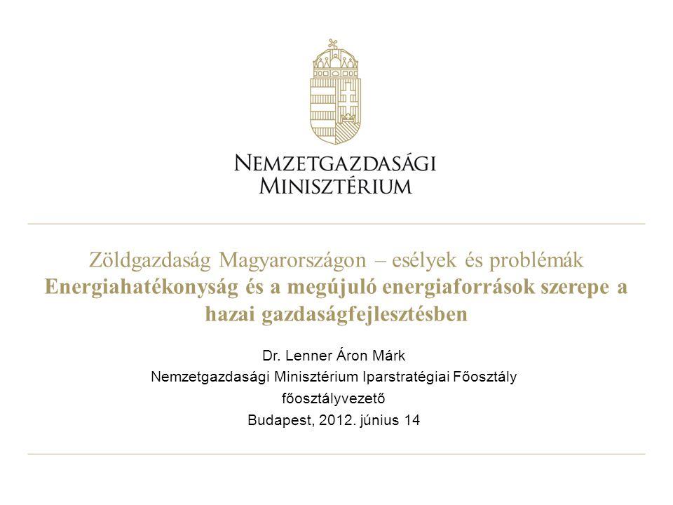 Zöldgazdaság Magyarországon – esélyek és problémák Energiahatékonyság és a megújuló energiaforrások szerepe a hazai gazdaságfejlesztésben Dr. Lenner Á