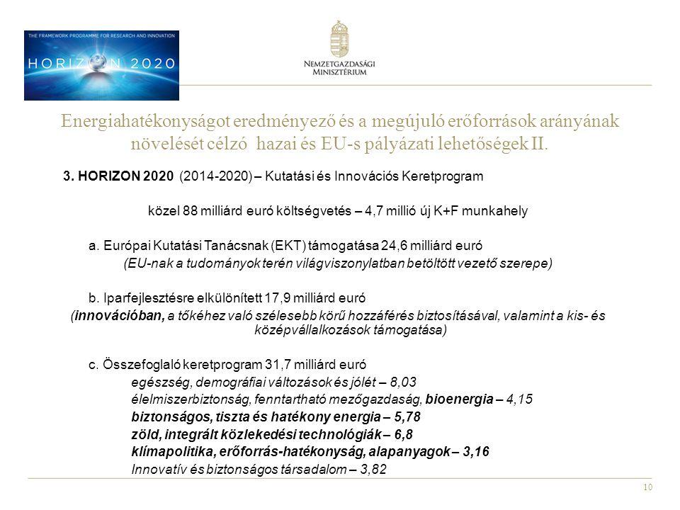 10 3. HORIZON 2020 (2014-2020) – Kutatási és Innovációs Keretprogram közel 88 milliárd euró költségvetés – 4,7 millió új K+F munkahely a. Európai Kuta