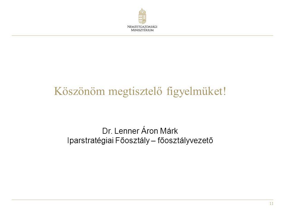 11 Köszönöm megtisztelő figyelmüket! Dr. Lenner Áron Márk Iparstratégiai Főosztály – főosztályvezető