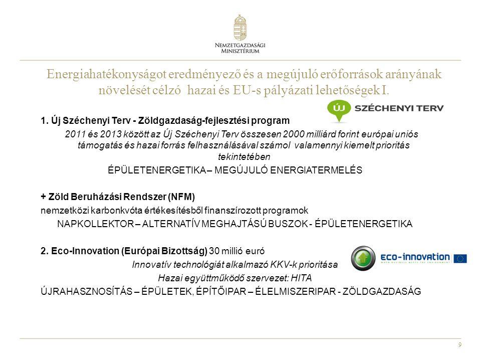 9 1. Új Széchenyi Terv - Zöldgazdaság-fejlesztési program 2011 és 2013 között az Új Széchenyi Terv összesen 2000 milliárd forint európai uniós támogat