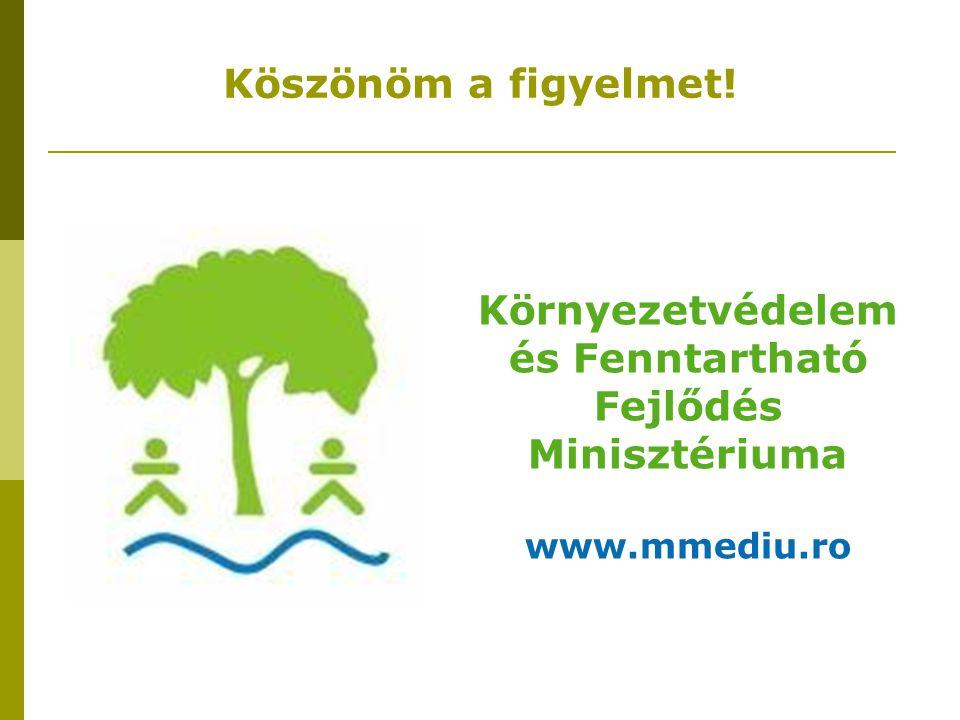 Köszönöm a figyelmet! Környezetvédelem és Fenntartható Fejlődés Minisztériuma www.mmediu.ro