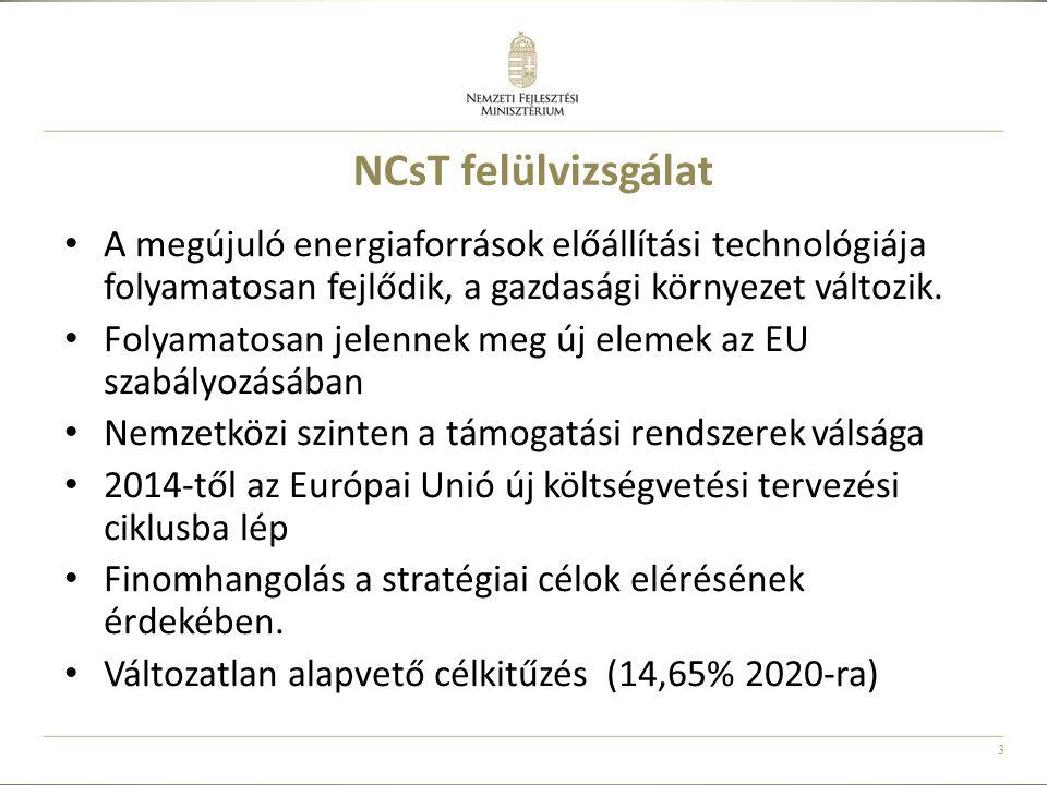 3 NCsT felülvizsgálat • A megújuló energiaforrások előállítási technológiája folyamatosan fejlődik, a gazdasági környezet változik. • Folyamatosan jel