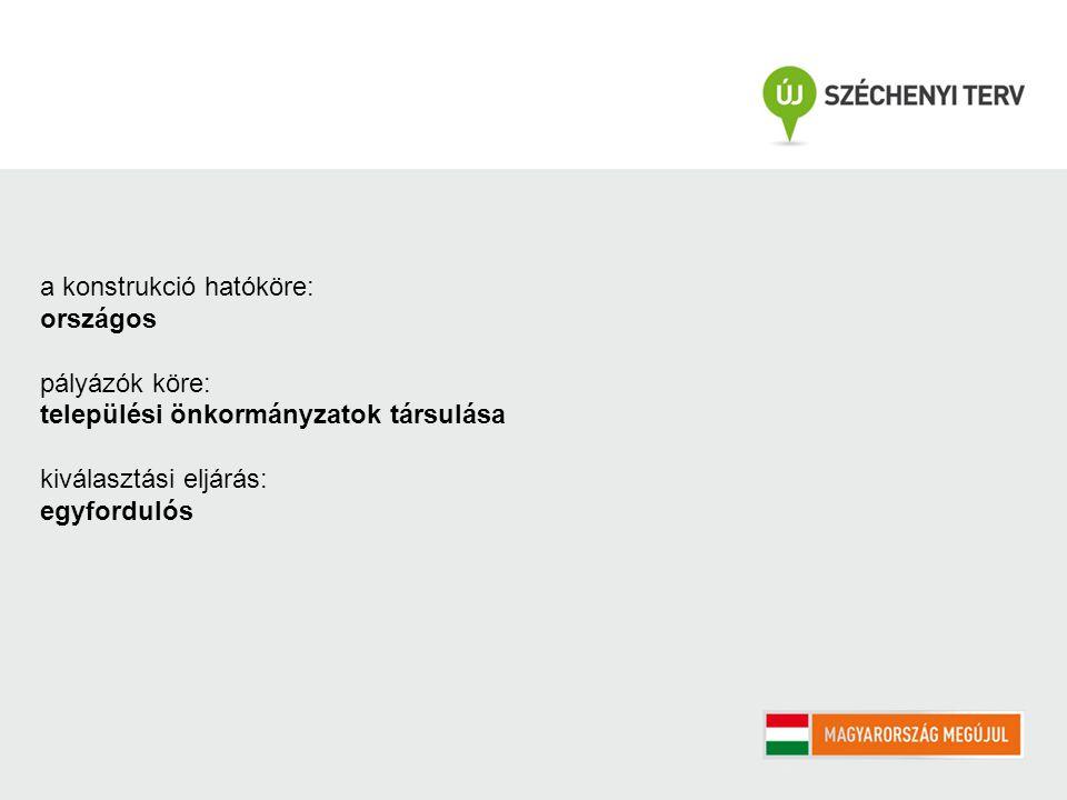 a konstrukció hatóköre: országos pályázók köre: települési önkormányzatok társulása kiválasztási eljárás: egyfordulós