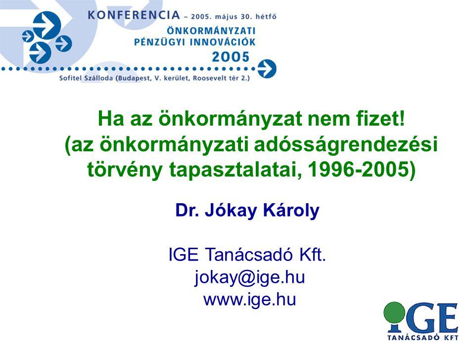 Dr. Jókay Károly IGE Tanácsadó Kft. jokay@ige.hu www.ige.hu Ha az önkormányzat nem fizet.