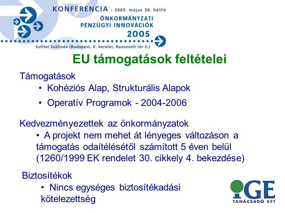 Támogatások EU támogatások feltételei • Kohéziós Alap, Strukturális Alapok • Operatív Programok - 2004-2006 Kedvezményezettek az önkormányzatok • A projekt nem mehet át lényeges változáson a támogatás odaítélésétől számított 5 éven belül (1260/1999 EK rendelet 30.