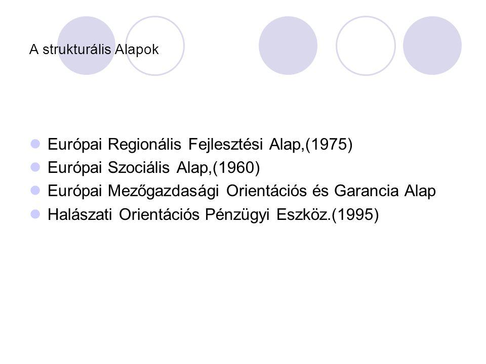 A strukturális Alapok  Európai Regionális Fejlesztési Alap,(1975)  Európai Szociális Alap,(1960)  Európai Mezőgazdasági Orientációs és Garancia Alap  Halászati Orientációs Pénzügyi Eszköz.(1995)