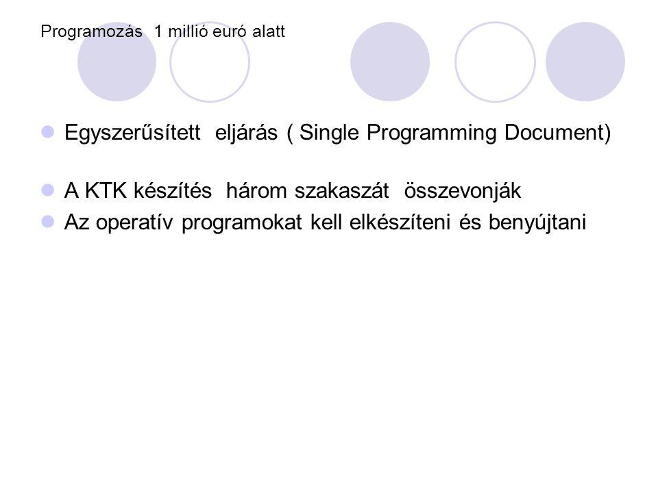 Programozás 1 millió euró alatt  Egyszerűsített eljárás ( Single Programming Document)  A KTK készítés három szakaszát összevonják  Az operatív programokat kell elkészíteni és benyújtani