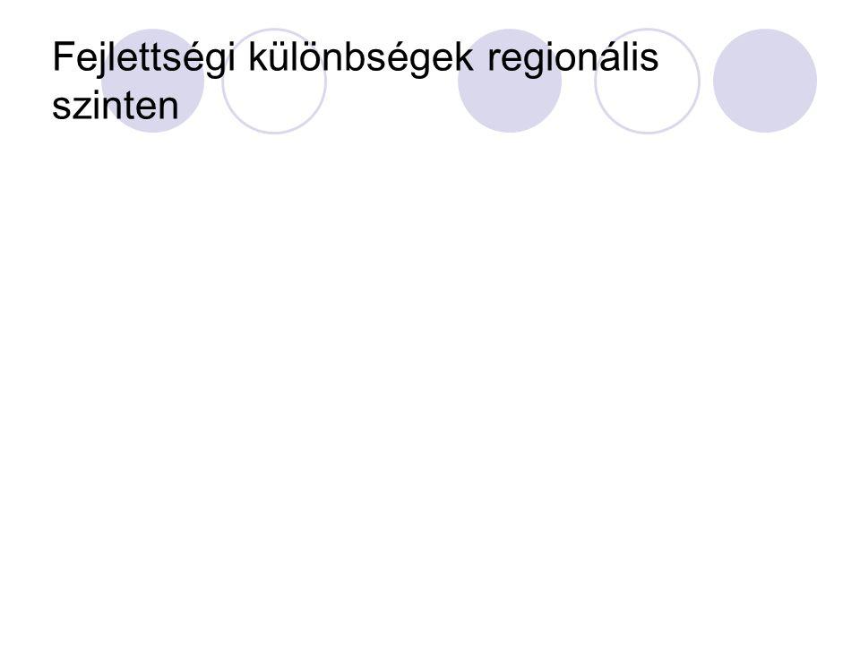 Fejlettségi különbségek regionális szinten