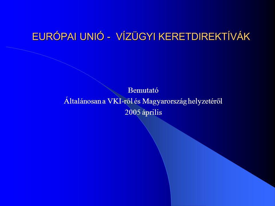 EURÓPAI UNIÓ - VÍZÜGYI KERETDIREKTÍVÁK Bemutató Általánosan a VKI-ről és Magyarország helyzetéről 2005 április