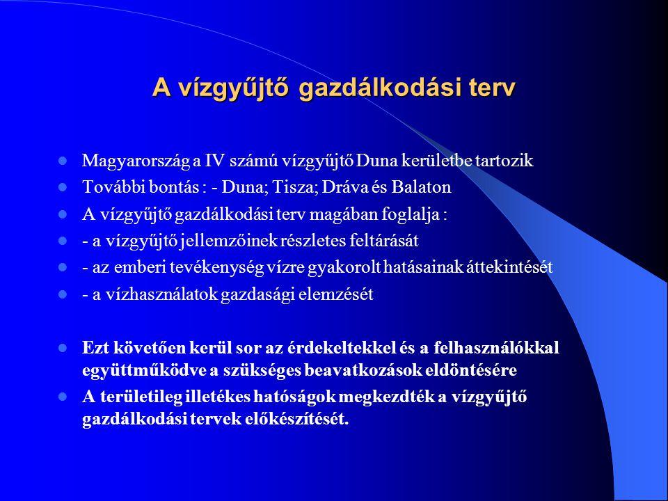A vízgyűjtő gazdálkodási terv  Magyarország a IV számú vízgyűjtő Duna kerületbe tartozik  További bontás : - Duna; Tisza; Dráva és Balaton  A vízgy