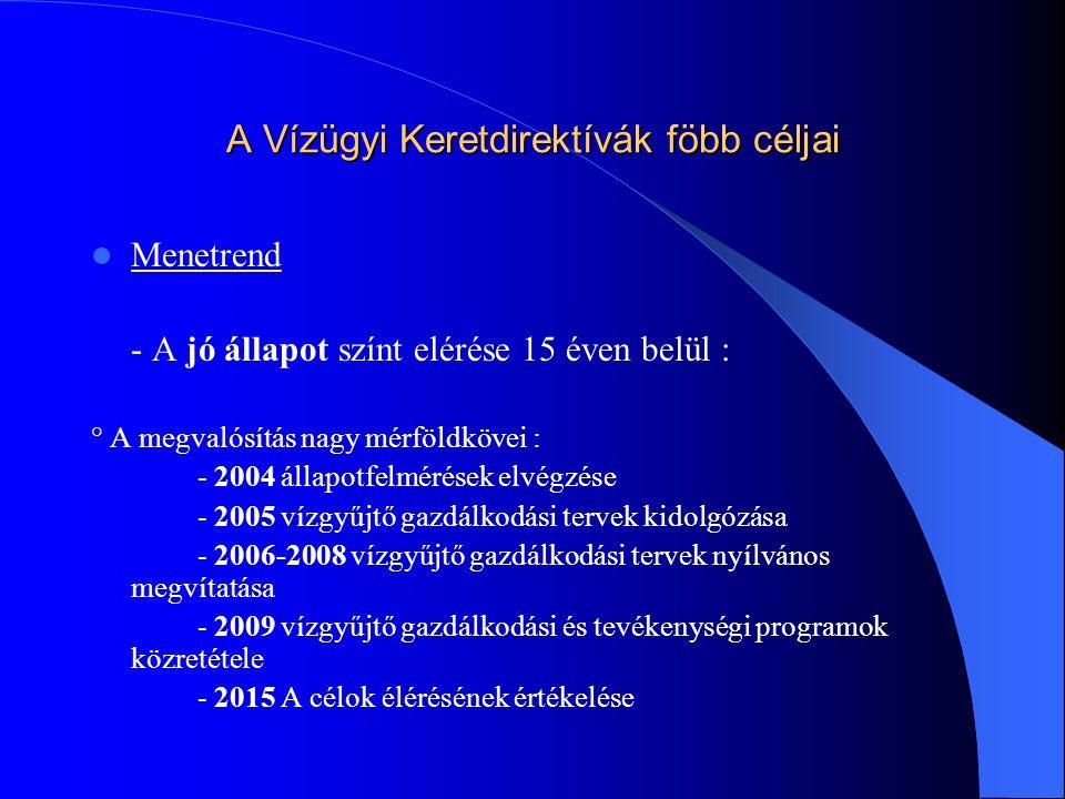 A Vízügyi Keretdirektívák föbb céljai  Menetrend - A jó állapot színt elérése 15 éven belül : ° A megvalósítás nagy mérföldkövei : - 2004 állapotfelm