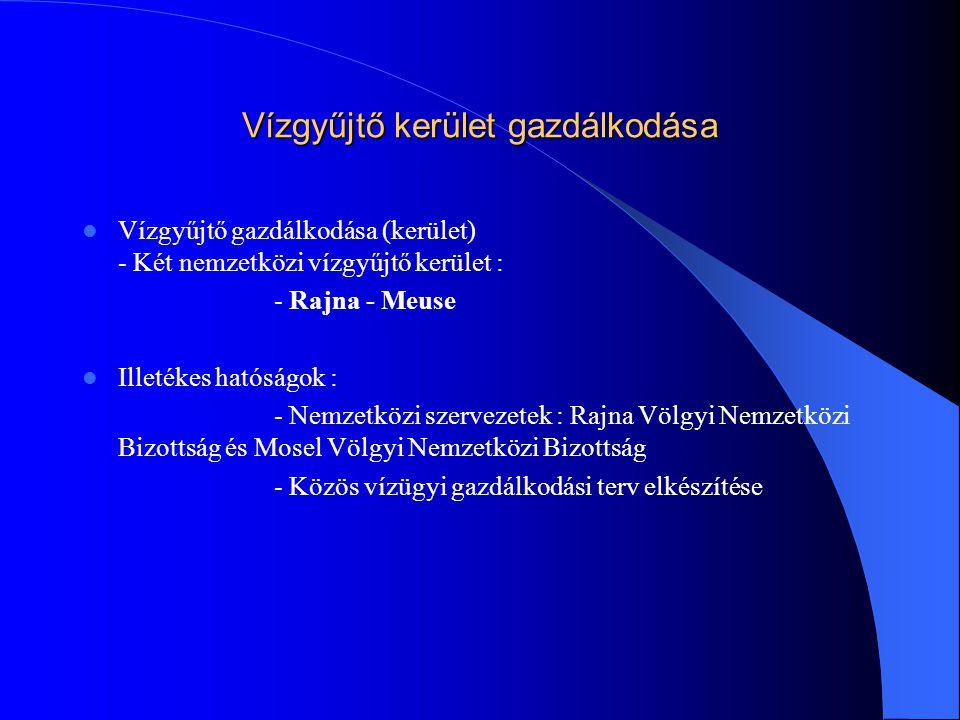 A vízgyűjtő gazdálkodási terv  Magyarország a IV számú vízgyűjtő Duna kerületbe tartozik  További bontás : - Duna; Tisza; Dráva és Balaton  A vízgyűjtő gazdálkodási terv magában foglalja :  - a vízgyűjtő jellemzőinek részletes feltárását  - az emberi tevékenység vízre gyakorolt hatásainak áttekintését  - a vízhasználatok gazdasági elemzését  Ezt követően kerül sor az érdekeltekkel és a felhasználókkal együttműködve a szükséges beavatkozások eldöntésére  A területileg illetékes hatóságok megkezdték a vízgyűjtő gazdálkodási tervek előkészítését.