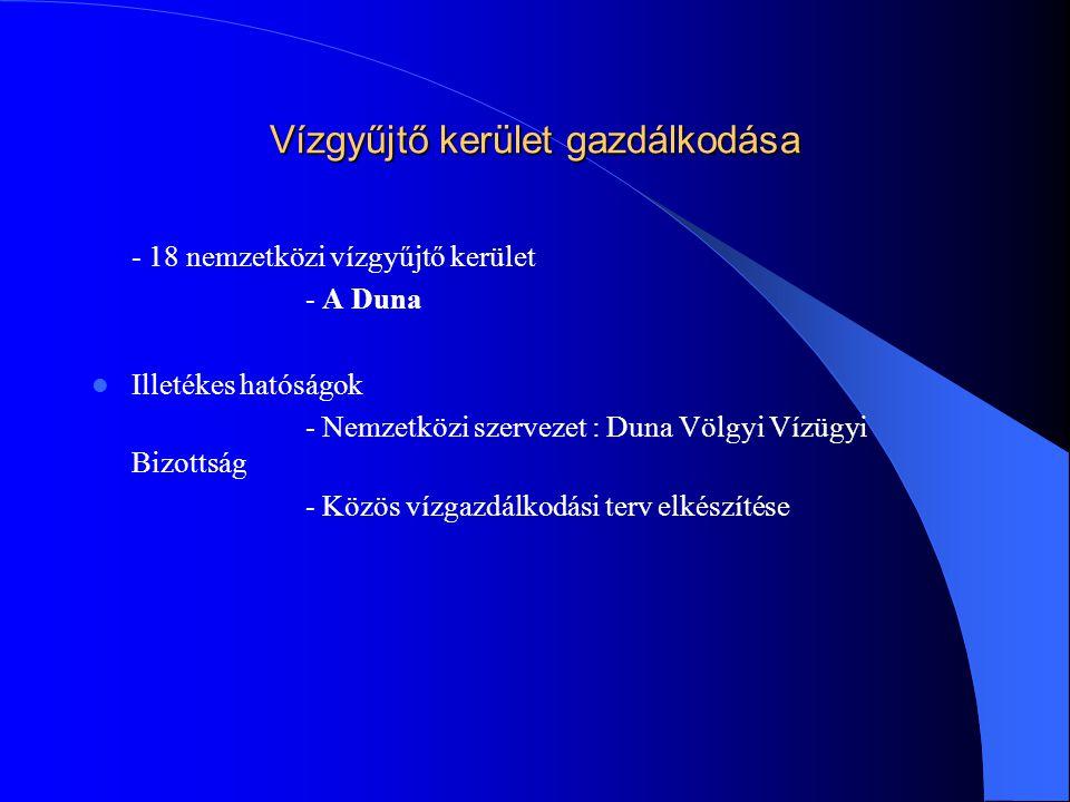 Vízgyűjtő kerület gazdálkodása - 18 nemzetközi vízgyűjtő kerület - A Duna  Illetékes hatóságok - Nemzetközi szervezet : Duna Völgyi Vízügyi Bizottság