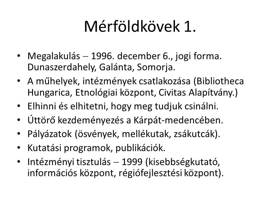 Mérföldkövek 1. • Megalakulás  1996. december 6., jogi forma.