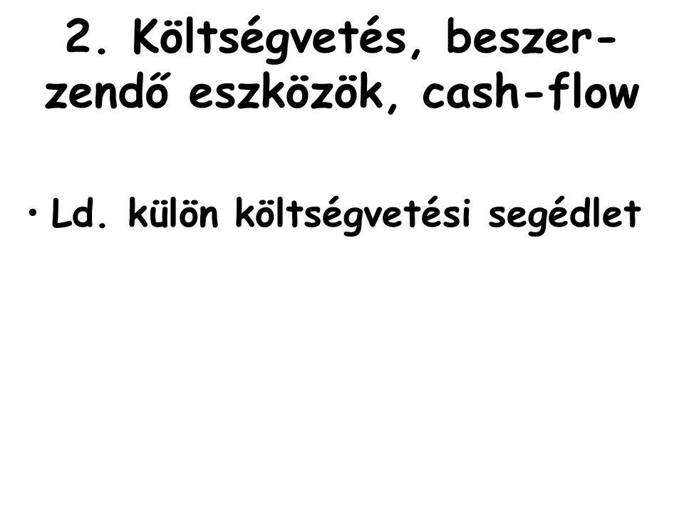2. Költségvetés, beszer- zendő eszközök, cash-flow •Ld. külön költségvetési segédlet