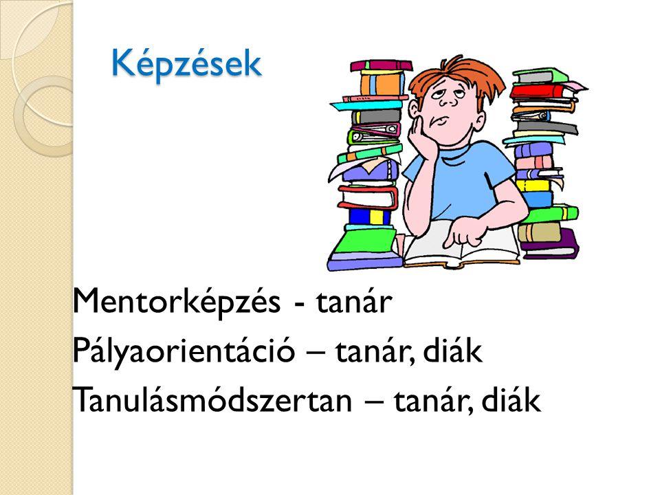 Képzések Mentorképzés - tanár Pályaorientáció – tanár, diák Tanulásmódszertan – tanár, diák