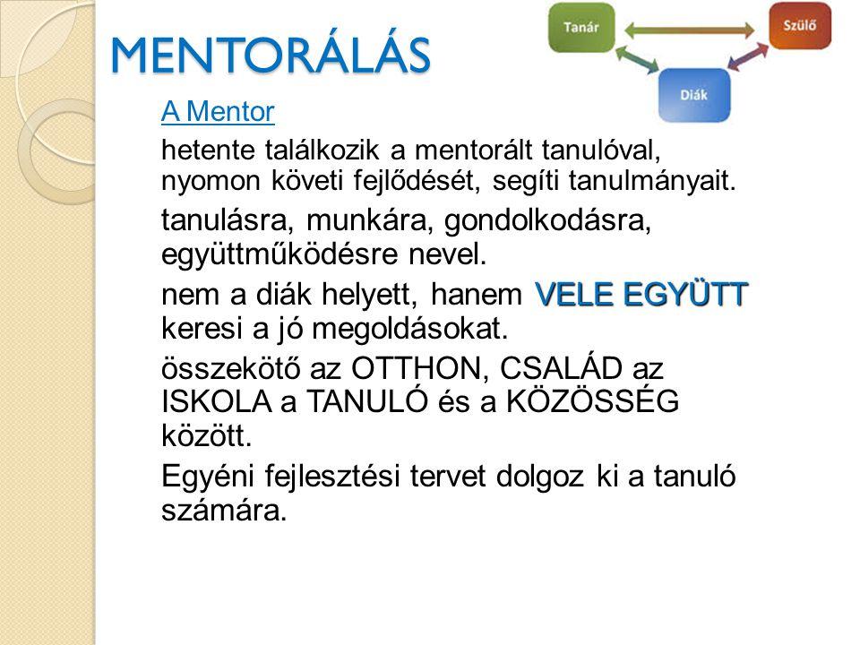 MENTORÁLÁS MENTORÁLÁS A Mentor hetente találkozik a mentorált tanulóval, nyomon követi fejlődését, segíti tanulmányait.