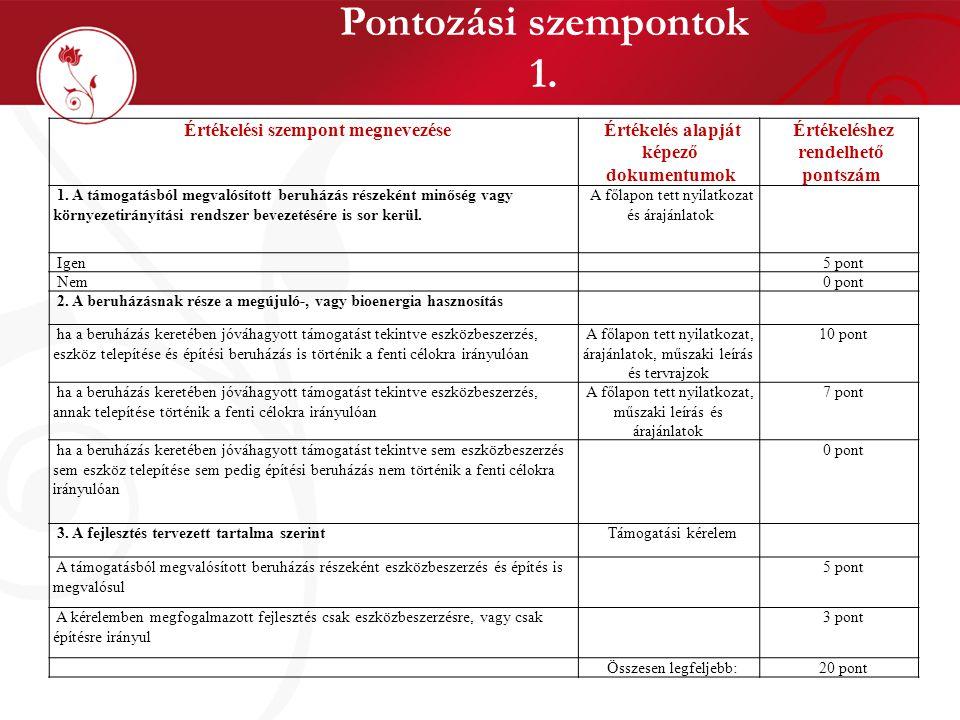 Pontozási szempontok 1. Értékelési szempont megnevezése Értékelés alapját képező dokumentumok Értékeléshez rendelhető pontszám 1. A támogatásból megva