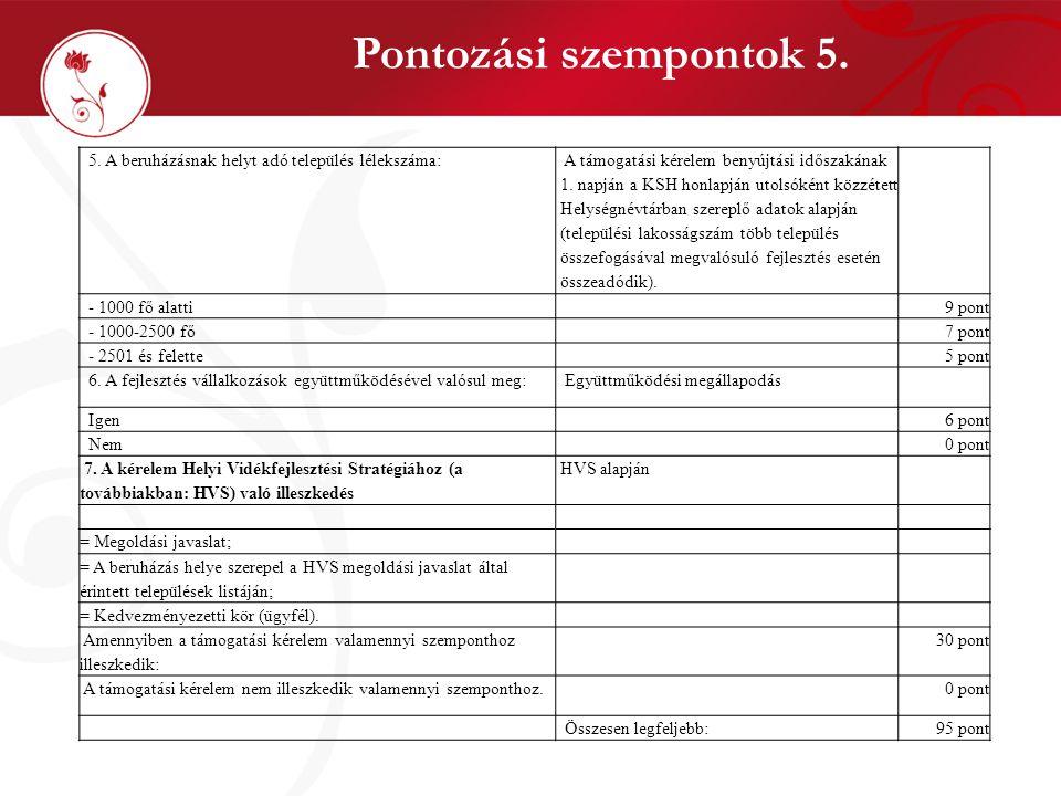 Pontozási szempontok 5. 5. A beruházásnak helyt adó település lélekszáma: A támogatási kérelem benyújtási időszakának 1. napján a KSH honlapján utolsó