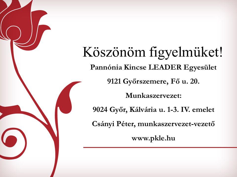 Köszönöm figyelmüket! Pannónia Kincse LEADER Egyesület 9121 Győrszemere, Fő u. 20. Munkaszervezet: 9024 Győr, Kálvária u. 1-3. IV. emelet Csányi Péter