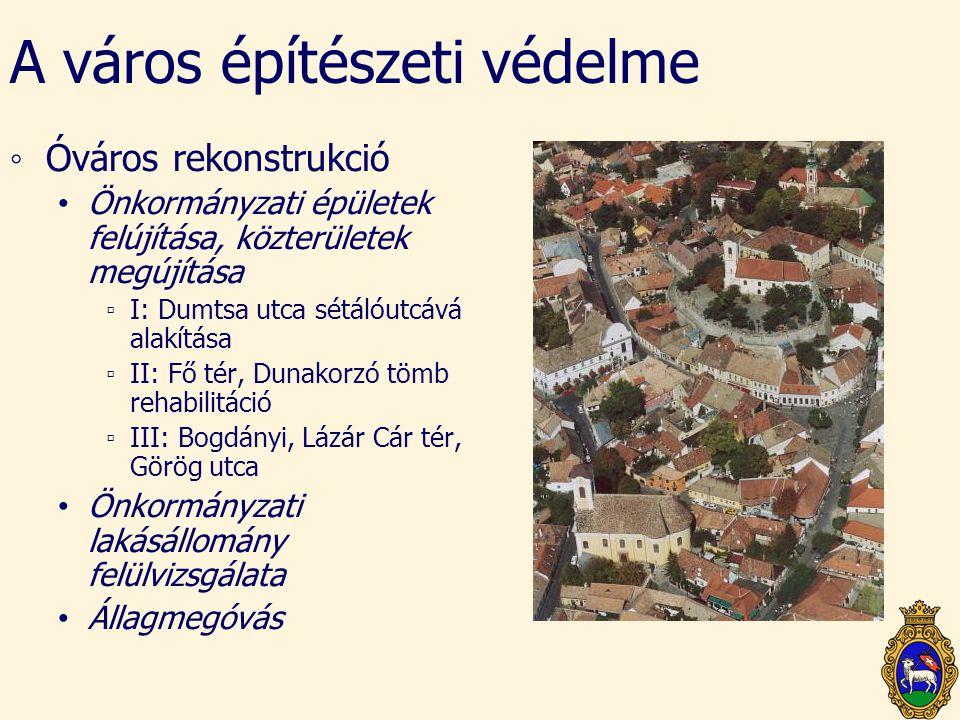 A város építészeti védelme ◦Óváros rekonstrukció • Önkormányzati épületek felújítása, közterületek megújítása ▫I: Dumtsa utca sétálóutcává alakítása ▫