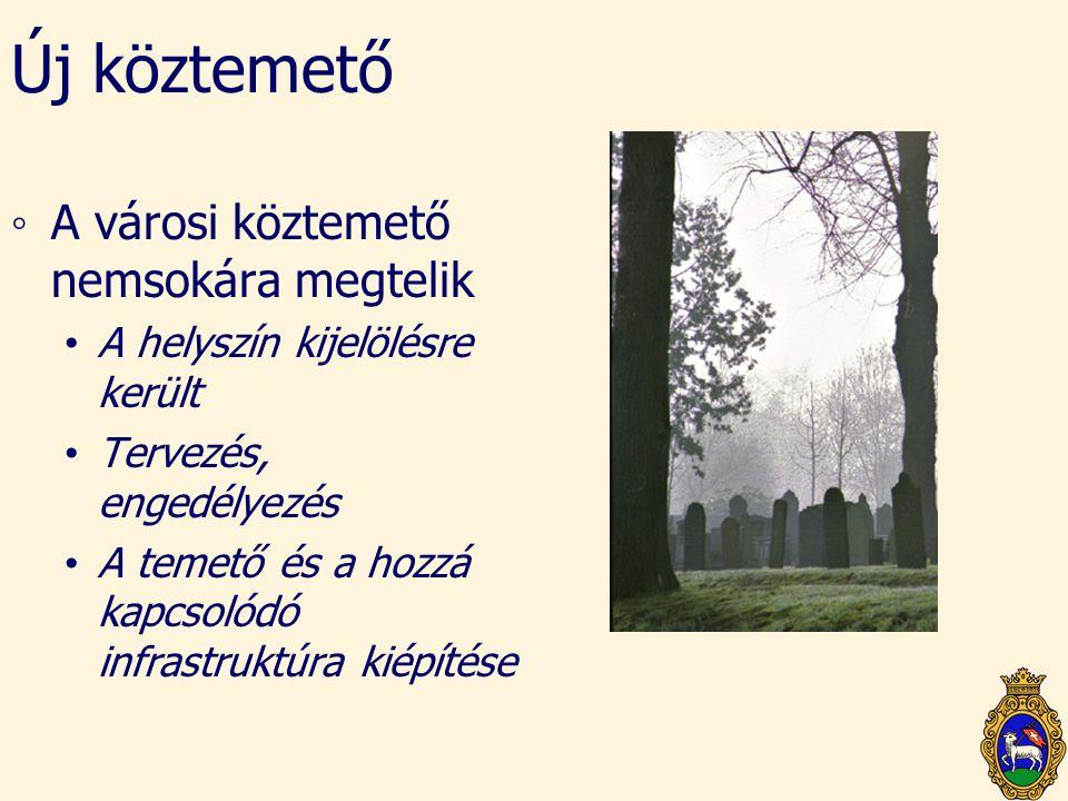 Új köztemető ◦A városi köztemető nemsokára megtelik • A helyszín kijelölésre került • Tervezés, engedélyezés • A temető és a hozzá kapcsolódó infrastr