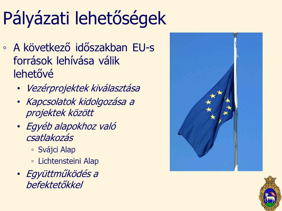 Pályázati lehetőségek ◦A következő időszakban EU-s források lehívása válik lehetővé • Vezérprojektek kiválasztása • Kapcsolatok kidolgozása a projekte