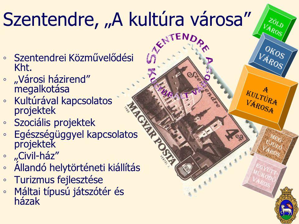 """Szentendre, """"A kultúra városa"""" ◦Szentendrei Közművelődési Kht. ◦""""Városi házirend"""" megalkotása ◦Kultúrával kapcsolatos projektek ◦Szociális projektek ◦"""