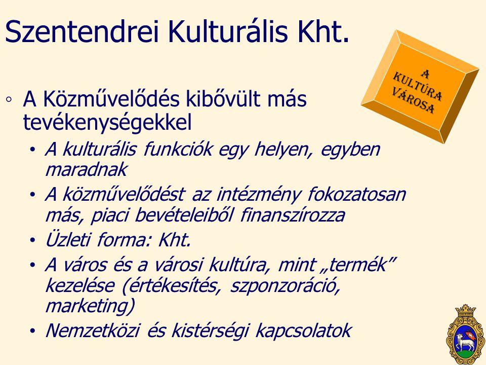 Szentendrei Kulturális Kht. ◦A Közművelődés kibővült más tevékenységekkel • A kulturális funkciók egy helyen, egyben maradnak • A közművelődést az int