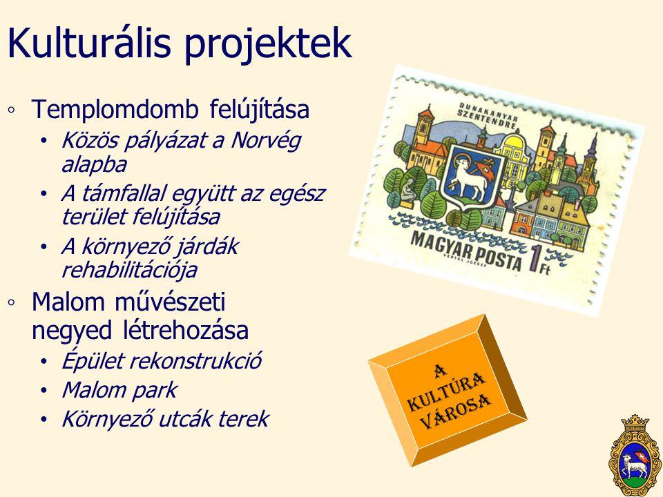 Kulturális projektek ◦Templomdomb felújítása • Közös pályázat a Norvég alapba • A támfallal együtt az egész terület felújítása • A környező járdák reh