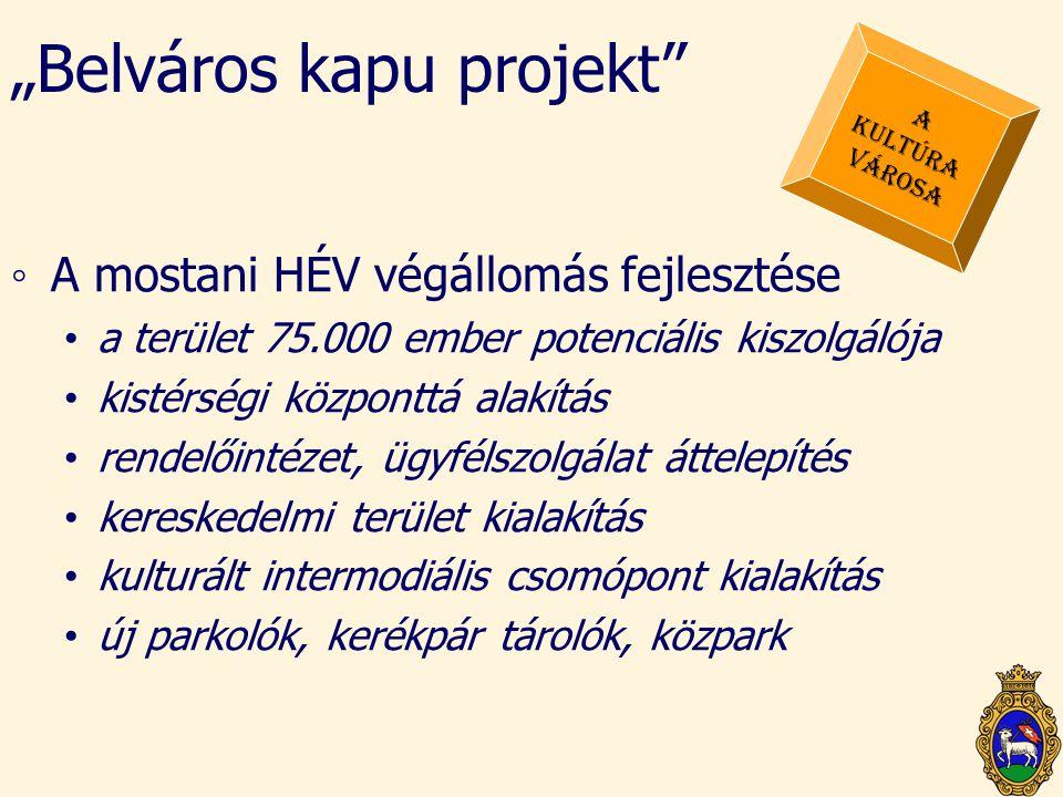 """""""Belváros kapu projekt"""" ◦A mostani HÉV végállomás fejlesztése • a terület 75.000 ember potenciális kiszolgálója • kistérségi központtá alakítás • rend"""