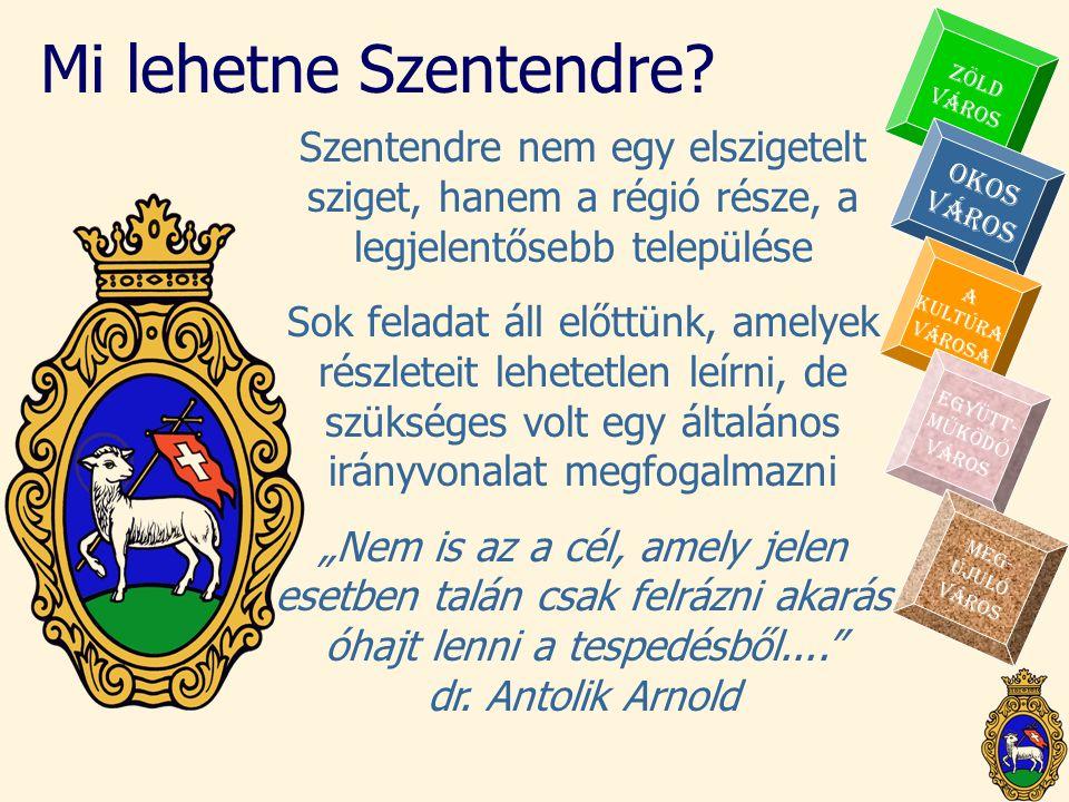 Mi lehetne Szentendre? Szentendre nem egy elszigetelt sziget, hanem a régió része, a legjelentősebb települése Sok feladat áll előttünk, amelyek részl