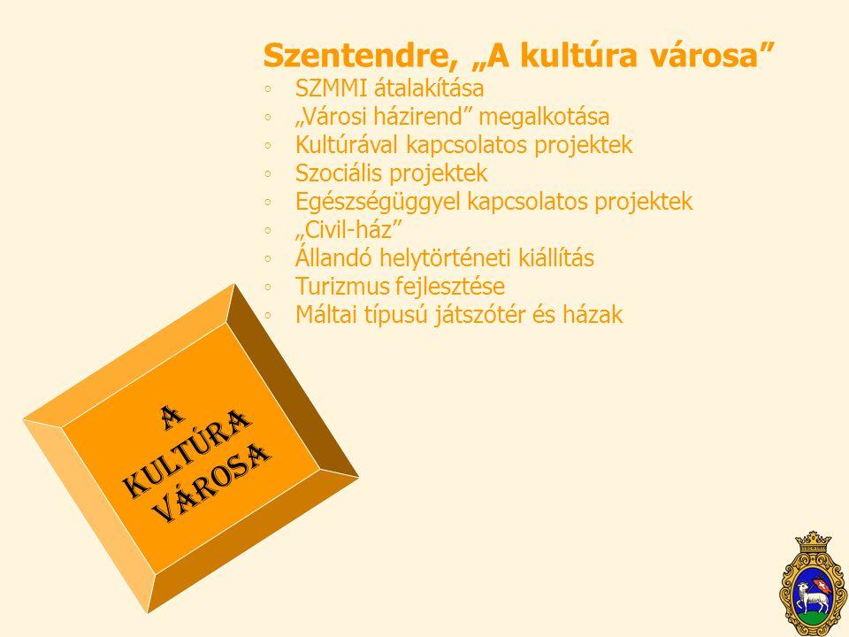 """Szentendre, """"A kultúra városa"""" ◦SZMMI átalakítása ◦""""Városi házirend"""" megalkotása ◦Kultúrával kapcsolatos projektek ◦Szociális projektek ◦Egészségüggye"""