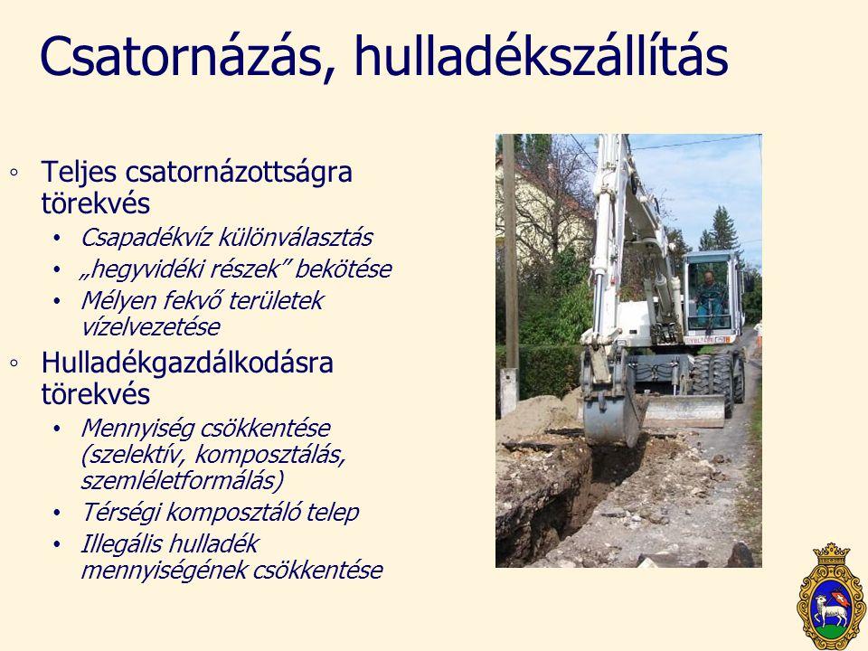 """Csatornázás, hulladékszállítás ◦Teljes csatornázottságra törekvés • Csapadékvíz különválasztás • """"hegyvidéki részek"""" bekötése • Mélyen fekvő területek"""