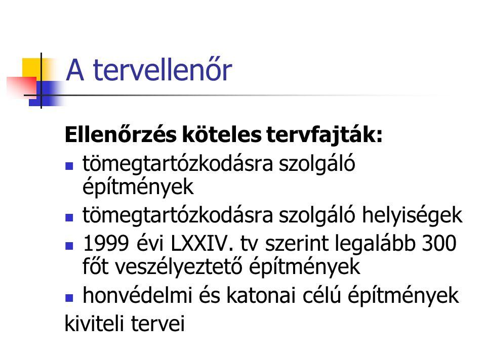 A tervellenőr Ellenőrzés köteles tervfajták:  tömegtartózkodásra szolgáló építmények  tömegtartózkodásra szolgáló helyiségek  1999 évi LXXIV. tv sz