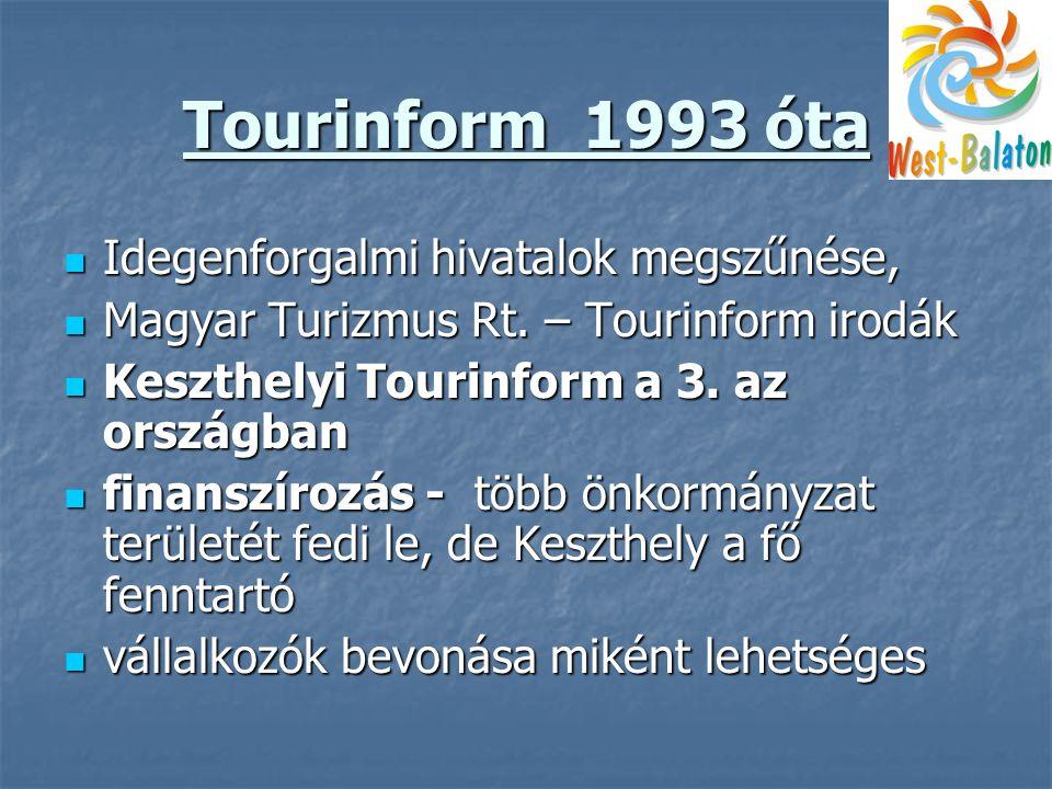 Tourinform 1993 óta  Idegenforgalmi hivatalok megszűnése,  Magyar Turizmus Rt.