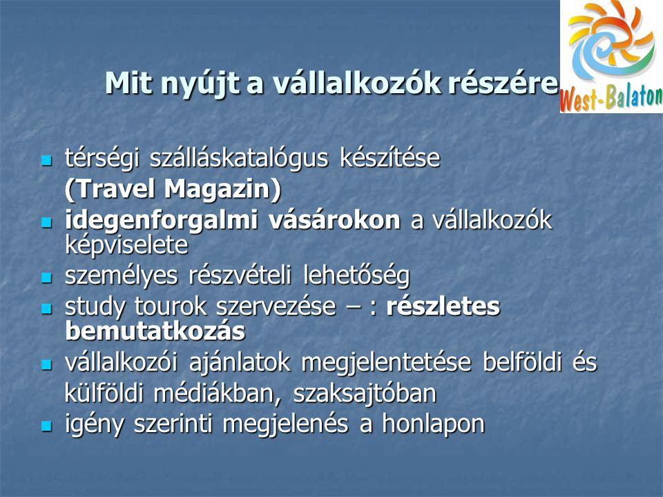 Mit nyújt a vállalkozók részére  térségi szálláskatalógus készítése (Travel Magazin) (Travel Magazin)  idegenforgalmi vásárokon a vállalkozók képviselete  személyes részvételi lehetőség  study tourok szervezése – : részletes bemutatkozás  vállalkozói ajánlatok megjelentetése belföldi és külföldi médiákban, szaksajtóban külföldi médiákban, szaksajtóban  igény szerinti megjelenés a honlapon