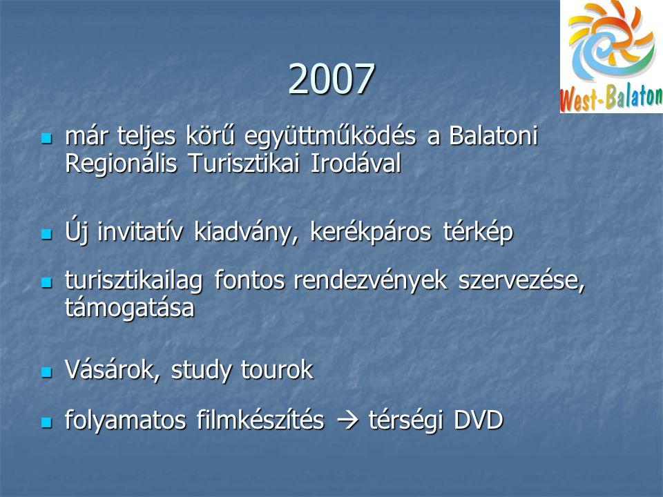 2007  már teljes körű együttműködés a Balatoni Regionális Turisztikai Irodával  Új invitatív kiadvány, kerékpáros térkép  turisztikailag fontos rendezvények szervezése, támogatása  Vásárok, study tourok  folyamatos filmkészítés  térségi DVD