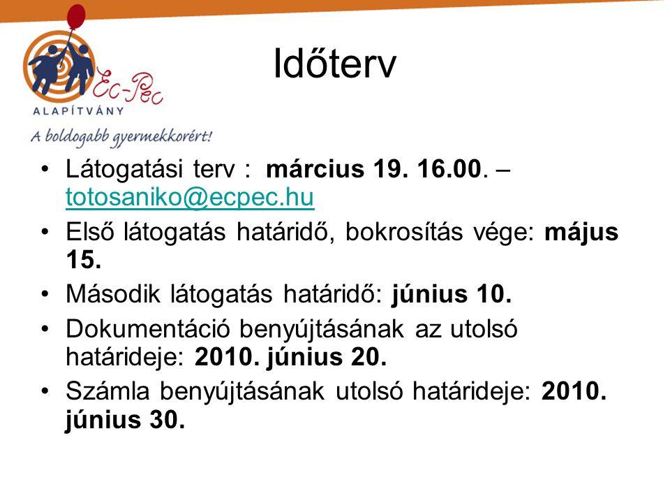 Időterv •Látogatási terv : március 19. 16.00.