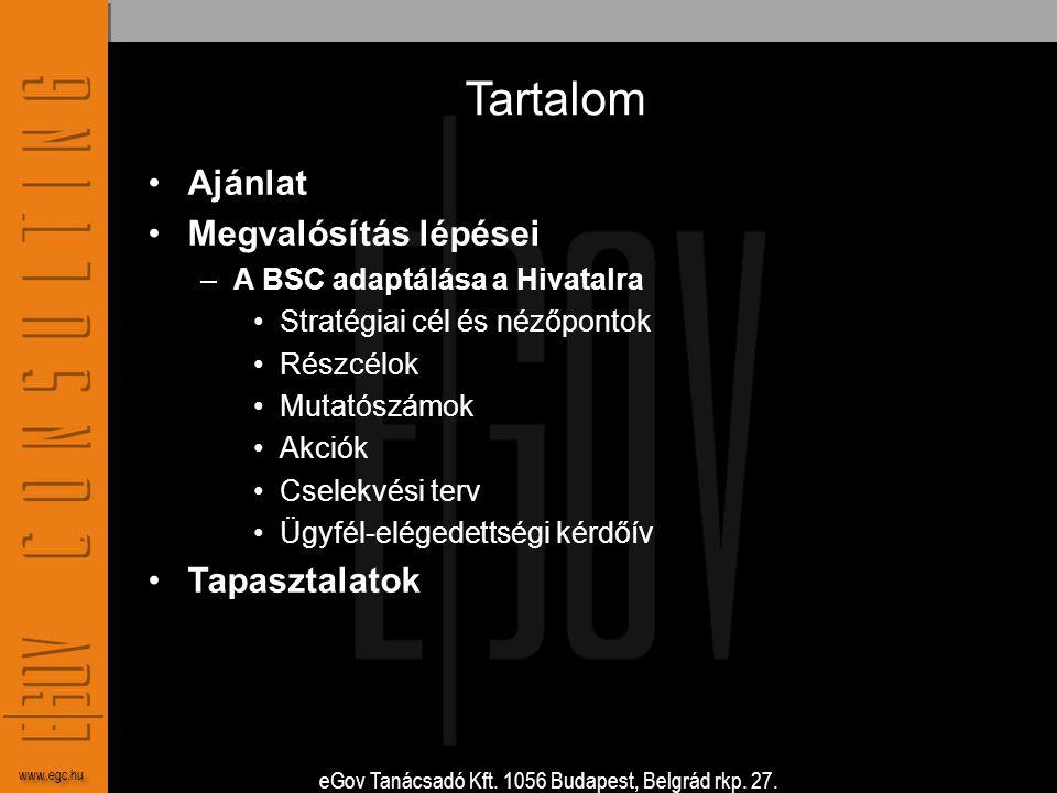 eGov Tanácsadó Kft. 1056 Budapest, Belgrád rkp. 27. www.egc.hu Tartalom •Ajánlat •Megvalósítás lépései –A BSC adaptálása a Hivatalra •Stratégiai cél é