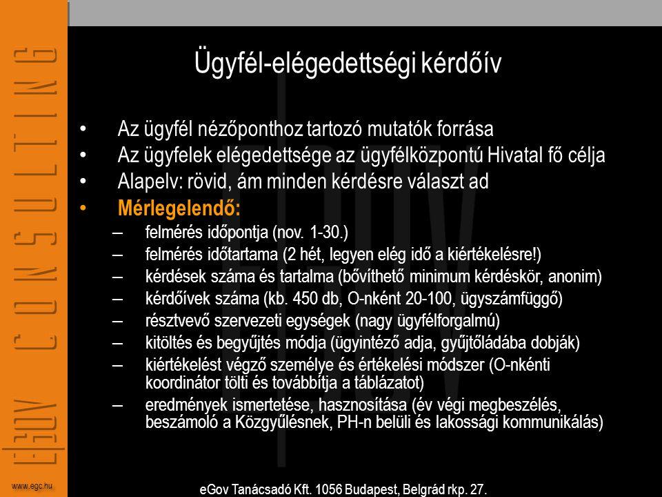 eGov Tanácsadó Kft. 1056 Budapest, Belgrád rkp. 27. www.egc.hu Ügyfél-elégedettségi kérdőív • Az ügyfél nézőponthoz tartozó mutatók forrása • Az ügyfe