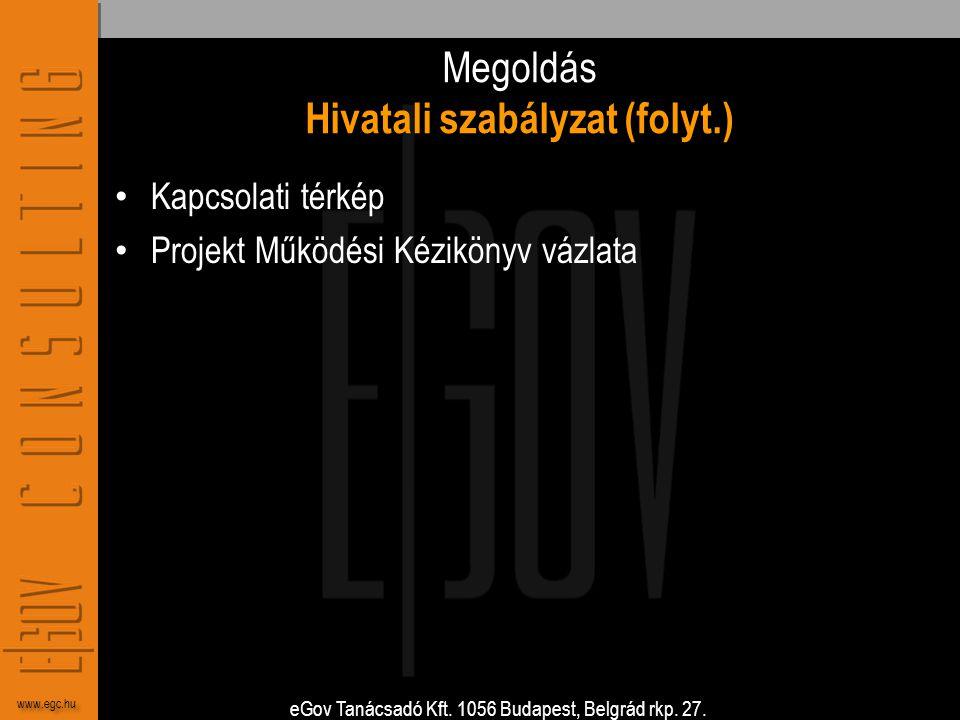 eGov Tanácsadó Kft. 1056 Budapest, Belgrád rkp. 27. www.egc.hu Megoldás Hivatali szabályzat (folyt.) • Kapcsolati térkép • Projekt Működési Kézikönyv