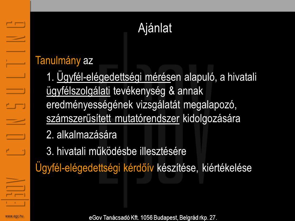eGov Tanácsadó Kft. 1056 Budapest, Belgrád rkp. 27. www.egc.hu Ajánlat Tanulmány az 1. Ügyfél-elégedettségi mérésen alapuló, a hivatali ügyfélszolgála