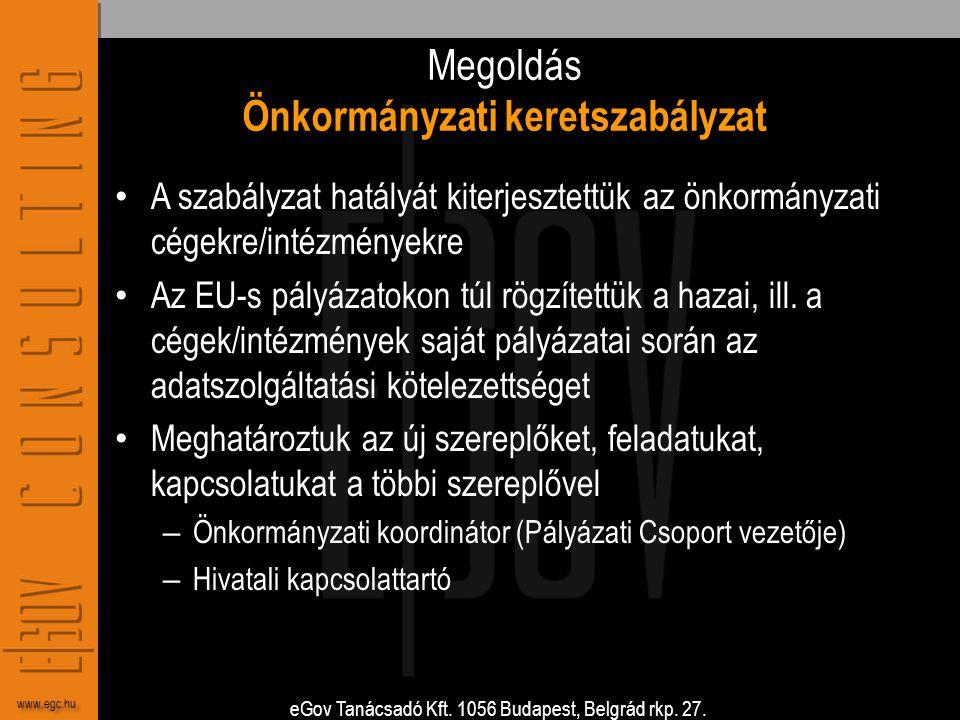 eGov Tanácsadó Kft. 1056 Budapest, Belgrád rkp. 27. www.egc.hu Megoldás Önkormányzati keretszabályzat • A szabályzat hatályát kiterjesztettük az önkor
