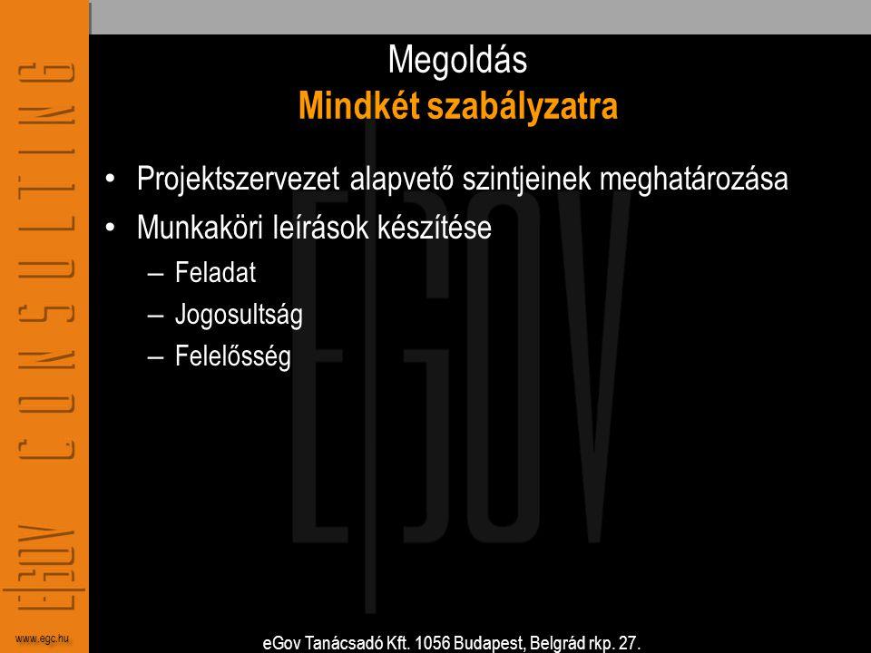 eGov Tanácsadó Kft. 1056 Budapest, Belgrád rkp. 27. www.egc.hu Megoldás Mindkét szabályzatra • Projektszervezet alapvető szintjeinek meghatározása • M