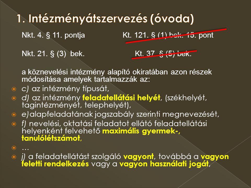 Nkt. 4. § 11. pontja Kt. 121. § (1) bek. 15. pont Nkt. 21. § (3) bek. Kt. 37. § (5) bek. a köznevelési intézmény alapító okiratában azon részek módosí