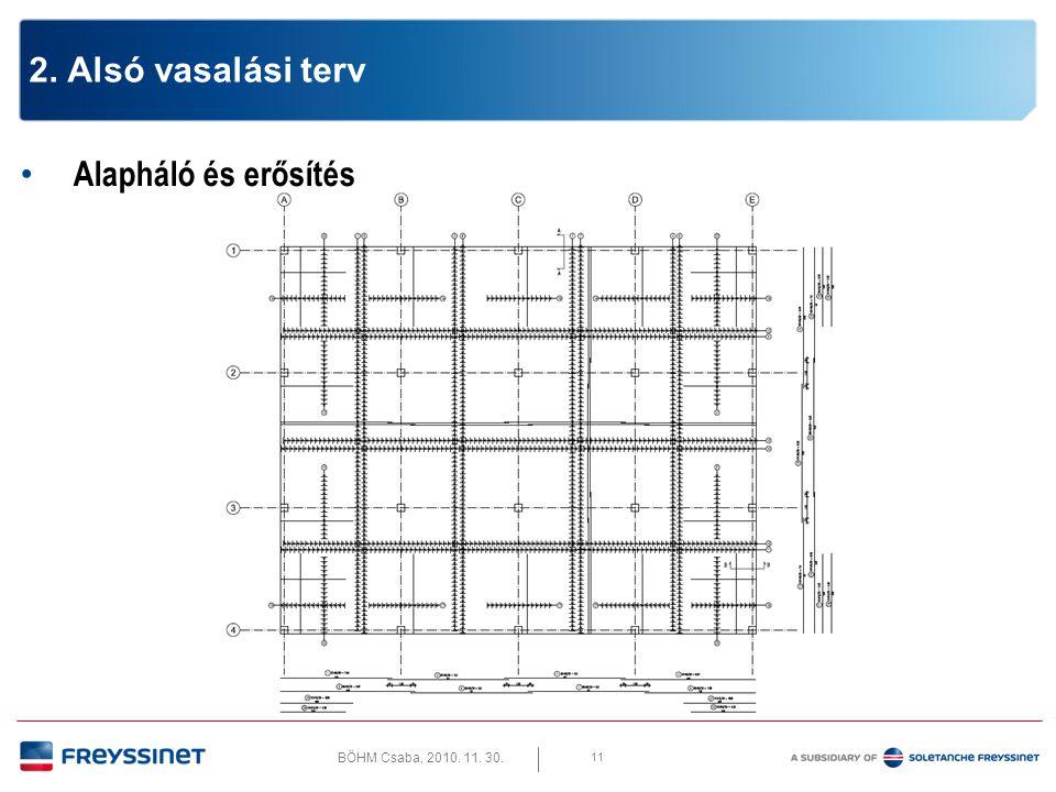 BÖHM Csaba, 2010. 11. 30. 11 2. Alsó vasalási terv • Alapháló és erősítés